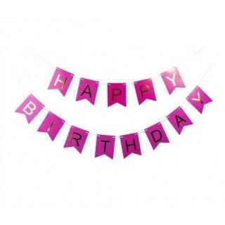 Guirlande happy birthday fushia