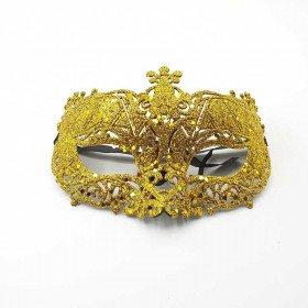 Masque de fête pailleté or