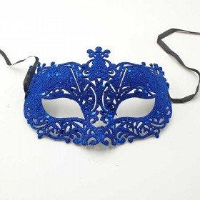 Masque de fête pailleté bleu roi