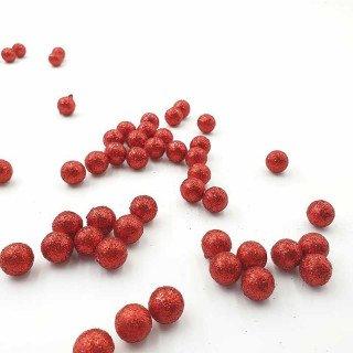 Sachet de petites boules brillantes rouge 15mm