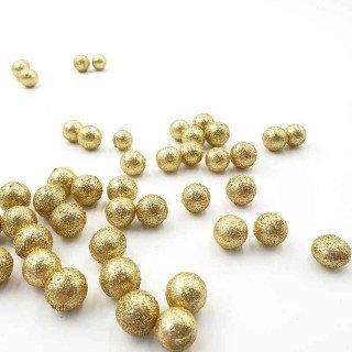 Sachet de petites boules brillantes doré 15mm