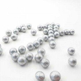 Sachet de petites boules brillantes argenté 20mm