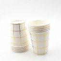 10 gobelets blanc motif or