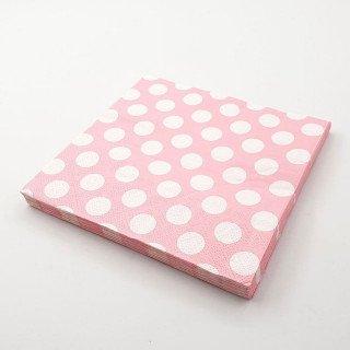 Serviette papier rose à pois x20
