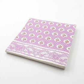 Serviette papier parme motifs fleurs x20