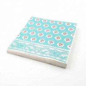 Serviette papier aqua motifs fleurs x20
