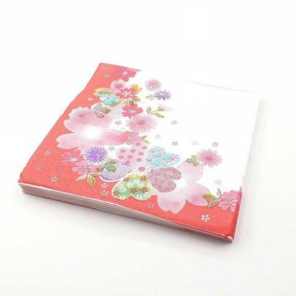 Serviette papier à fleurs rouges x20