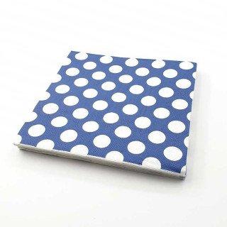 Serviette papier bleu marine à pois x20