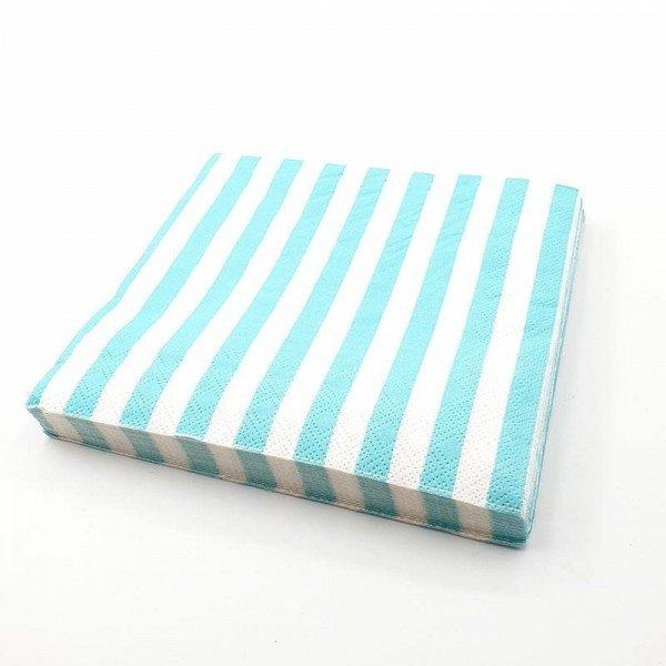 Serviette papier vert aqua à rayures x20