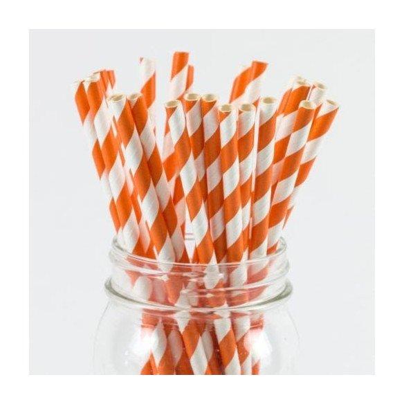 Paille rayées orange et blancX25