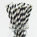 Pailles rétro à rayures noir et blanche