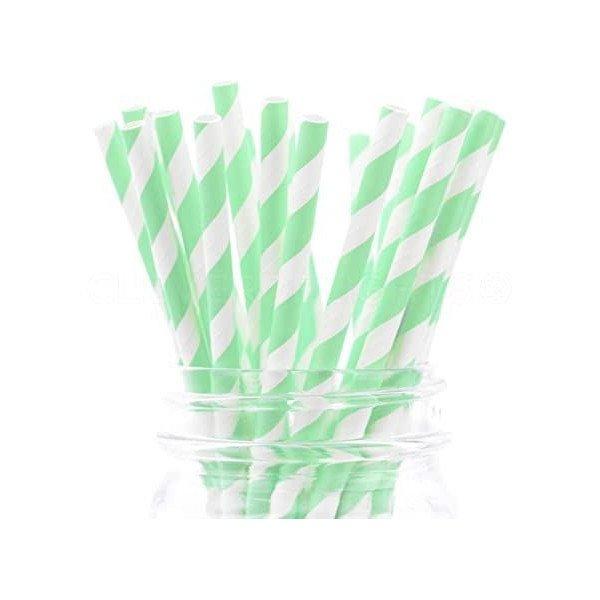 Pailles à rayure vert d'eau x25
