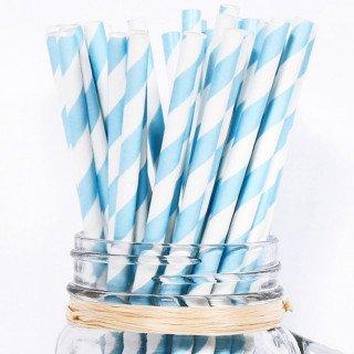 Paille rayées Bleu et blancX25