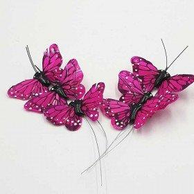 Papillon fushia sur tige X6