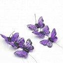 Papillon violet sur tige X6