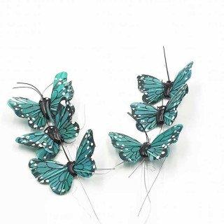Papillon vert émeraude sur tige X6