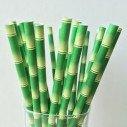 25 Pailles cartonné motif bamboo