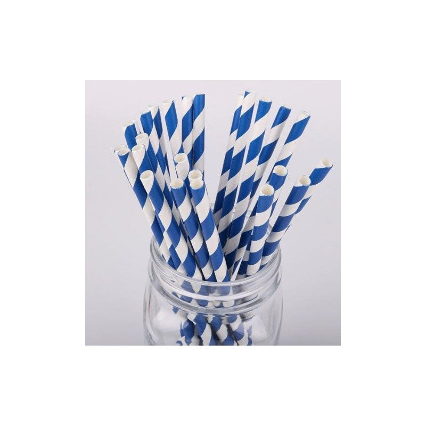 25 pailles bleu roi à rayures