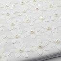 Livre d'or mariage blanc fleur pailletée cœur perle