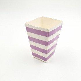 Petite boite a pop corn parme  à rayure x6