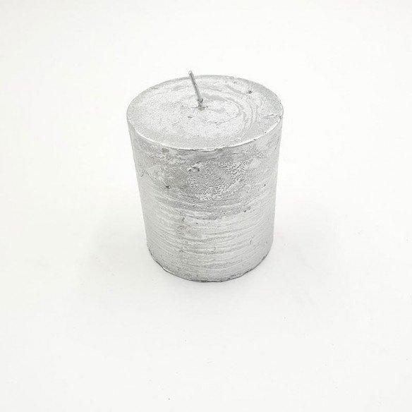 Bougie cylindrique argent 7x7.5cm