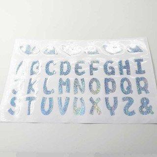 Stickers lettres alphabet argent