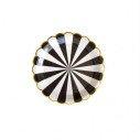 10 petites assiettes rondes à rayures noir