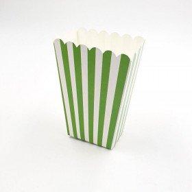 Petite boite a pop corn verte  à rayure x6