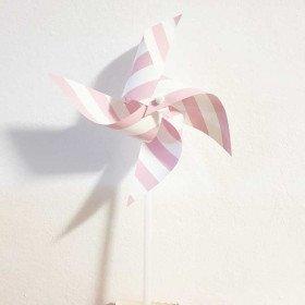 Moulin à vent décoration rose à rayures X6