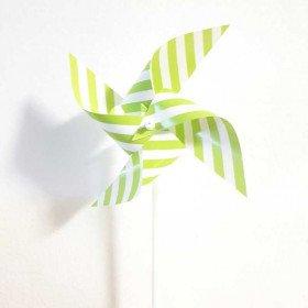 Moulin à vent deco vert à rayures X6