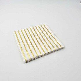 Serviette papier blanche fines rayures or  (paquet de 20)