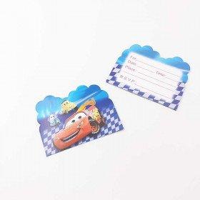 10 cartes d'invitation Cars