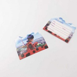 10 cartes d'invitation lady bug