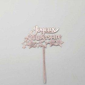 Cake topper Joyeux anniversaire rose