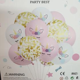 Kit ballons licorne et confettis (10 pcs)