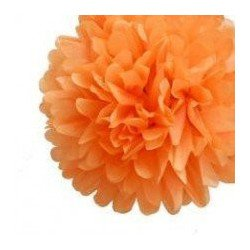 Pompons Fleurs Papier de Soie orange 20cm lot de 4