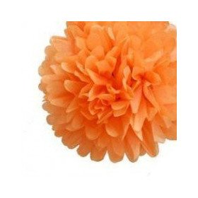 Pompon Fleur Papier de Soie orange 20cm