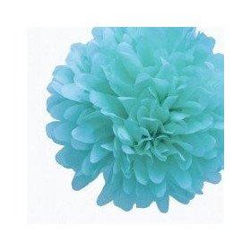 Pompon Fleur Papier de Soie bleu turquoise 20cm