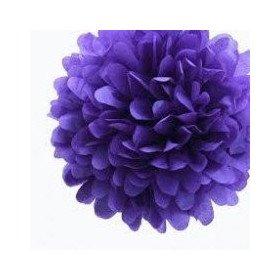 Pompons Fleurs Papier de Soie violet 20cm