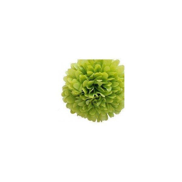 Pompons Fleurs Papier de Soie vert anis 20cm lot de 4