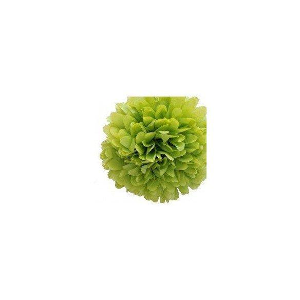 Pompon Fleur Papier de Soie vert anis 20cm