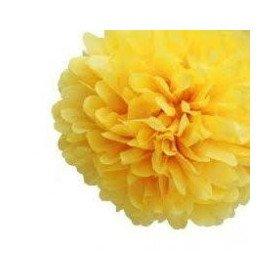 Pompon Fleur Papier de Soie jaune citron 35cm