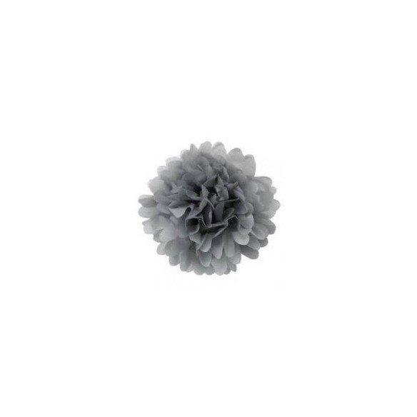 Pompon Fleur Papier de Soie gris 35cm