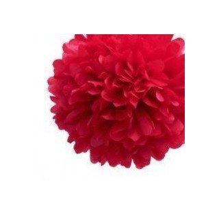 Pompon Fleur Papier de Soie rouge 35cm