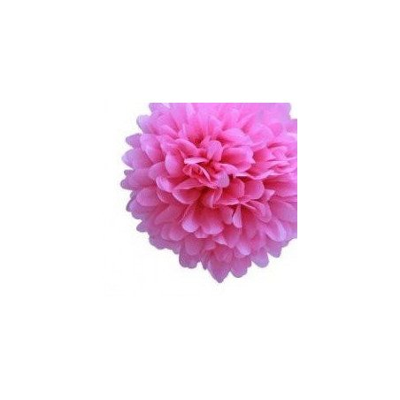 Boule Pompon Fleur en Papier de Soie fushia 35cm