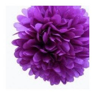 Pompon Fleur Papier de Soie violet 35cm