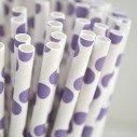 Pailles à pois violet et blancX25