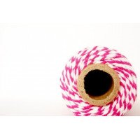Ficelle coton baker twine fushia et blanc 100m