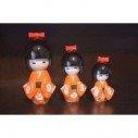 Kokeshi orange (lot de 3)