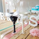 Flutes champagne couple mariés strass